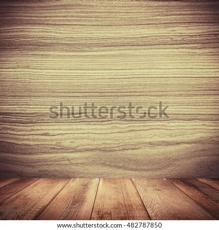 Background of brown old natural wood planks Dark aged empty rural room with tree floor pattern texture Closeup gold view surface of retro pine red logs inside vintage light warm interior with shadows