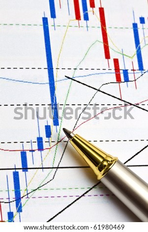 Background of business graph and a pen - stock photo