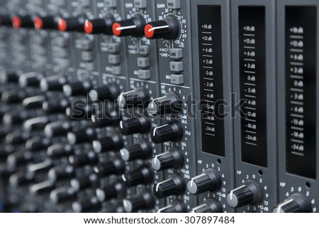 background of button control from sound mixer - stock photo