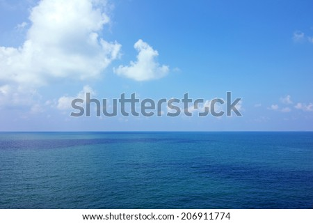 Background of calm sea and blue sky