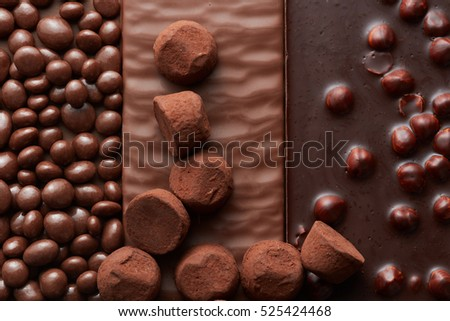 background of chocolate and sweets