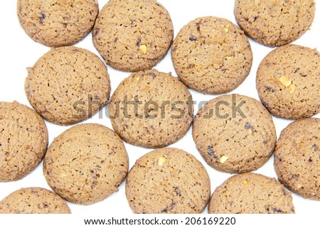 Background of chocolate cookies on a white background