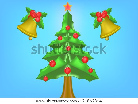 Background of christmas bell and christmas tree . - stock photo