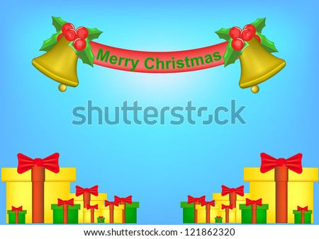 Background of christmas bell and golden ribbon . - stock photo