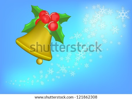 Background of christmas bell and white snow . - stock photo