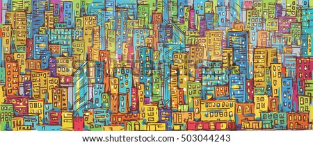 Background of Cityscape. Colorful hand drawn illustration