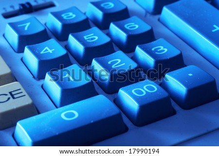 Background of closeup of numbers on calculator keypad - stock photo