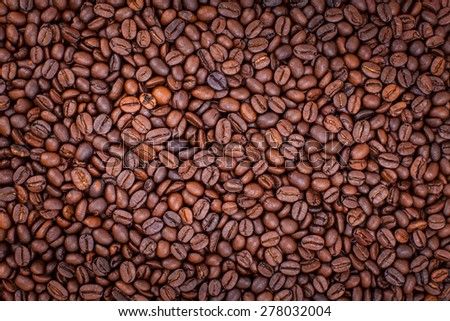 background of coffee beans, wallpaper - stock photo