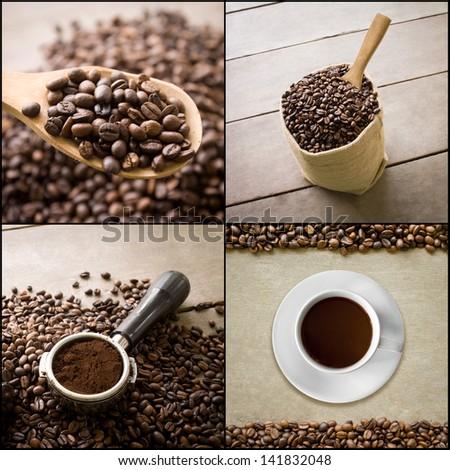 background of coffee collage, retro style - stock photo