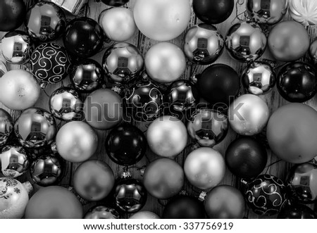background of colored christmas tree balls and decorations black and white - Black Christmas Tree Ornaments
