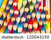 Background of colored pencils for creativity closeup - stock photo