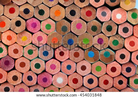 Background of colored pencils for your design. Colored pencils close-up