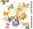 background of colorful butterflies. Raster - stock photo