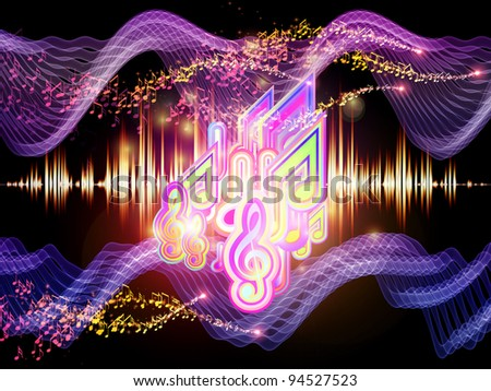 Background of colorful f waves and notes suitable as backdrop for music, audio and sound technology projects - stock photo
