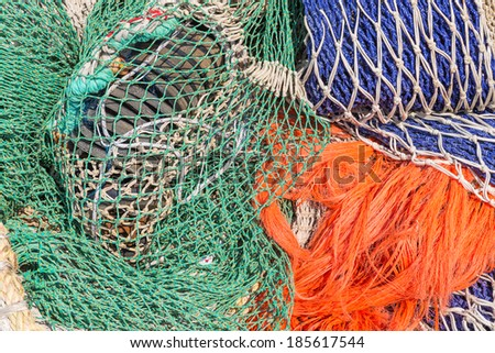 Background of colorful fishing nets - stock photo