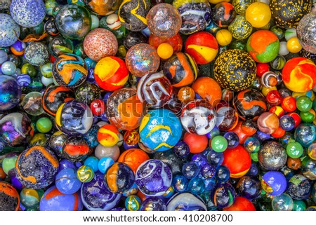 Background of colorful glass spheres as a concept for variation - stock photo