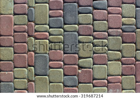 Background of colorful paving slabs close up - stock photo