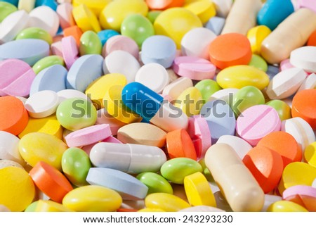 background of colorful pills - stock photo