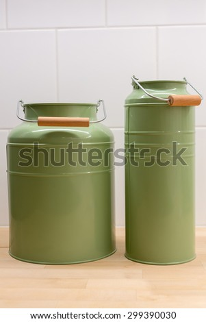 Background of colorful plastic containers displayed in supermarket - stock photo