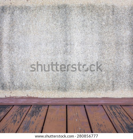 Background of concrete wall and wooden exterior.