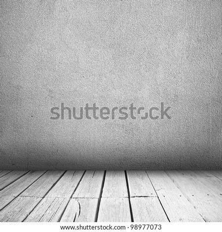 Background of concrete wall and wooden planks in old bright interior