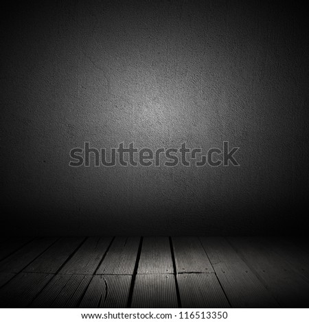 Background of concrete wall and wooden planks in old interior