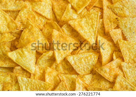 Background of Corn Tortilla Chips or Nachos - stock photo