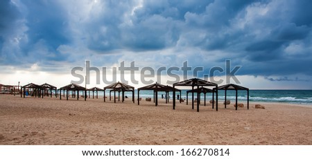 Background of dark clouds before a storm - stock photo