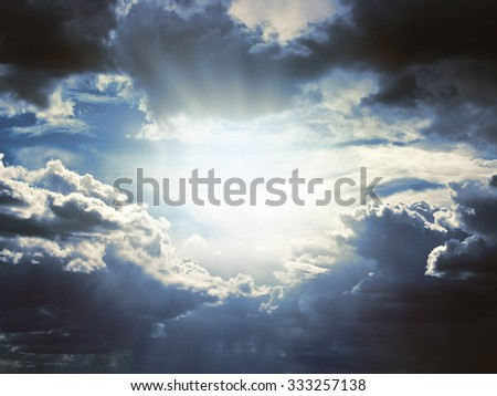Background of dark clouds before a thunderstorm - stock photo