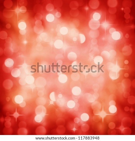 Background of defocused red lights with sparkles. Christmas, New Years, disco party bokeh - stock photo