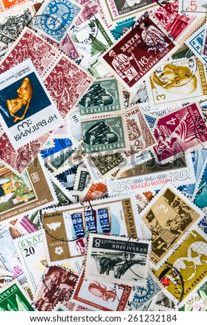 Background of different brands of Bulgarian stamps - stock photo