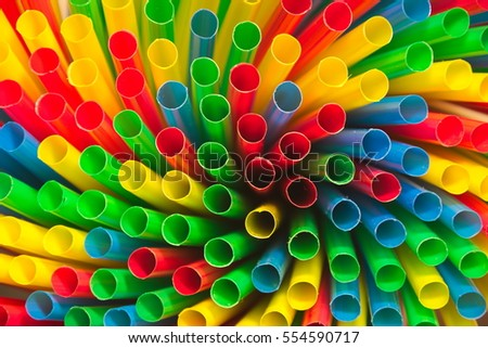 Background of different colored drinking straws