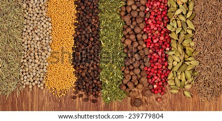 Background of different dry spices