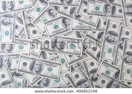 Background of 100 dollar bills - stock photo