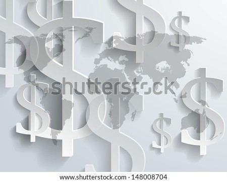 Background of dollar symbol on world map - vector version in portfolio - stock photo