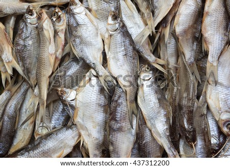 Background of dried fish - stock photo