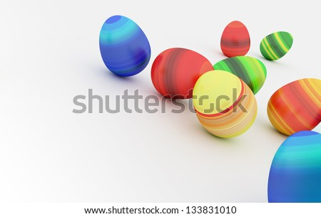 background of Easter eggs and blue sky