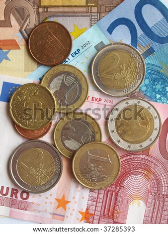 Background of Euro banknotes and coins money