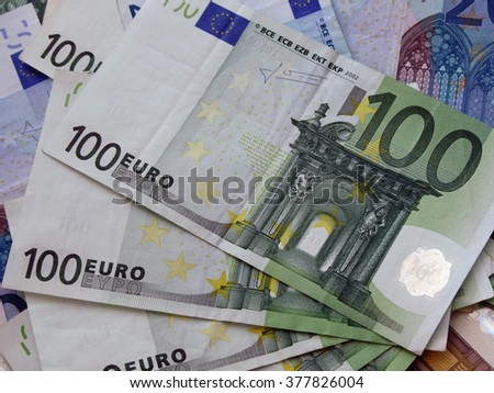 Background of euro bills. 100 euro bank notes.