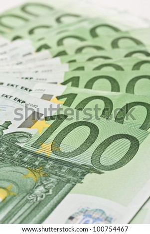 background of 100 euro money banknotes