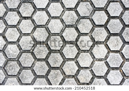 background of floor with paving stones and hexagon shapes - stock photo