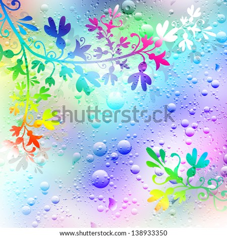 Background of flowers and drops of rain. Illustration. - stock photo