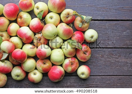 Background of fresh apples. Top view. Copy space.