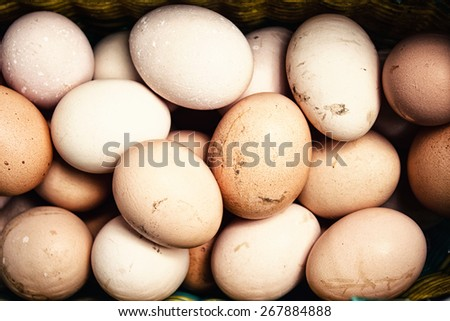 Background of fresh dirty eggs - stock photo