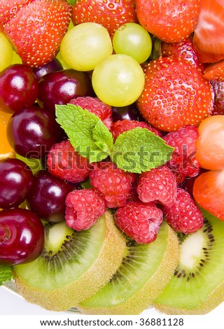 background of fresh fruits and berries