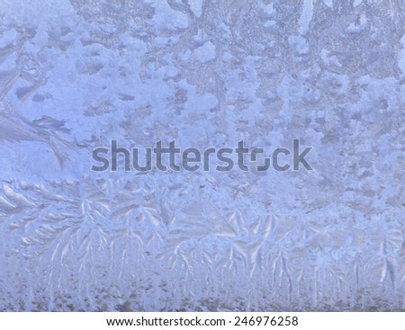background of fresh ice designs on the window glass