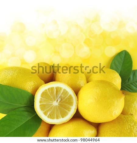 Background of fresh lemons - stock photo