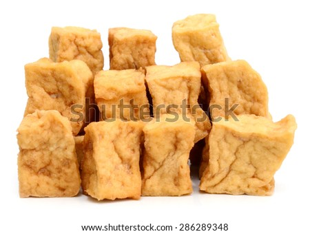 background of fried tofu isolated on white - stock photo