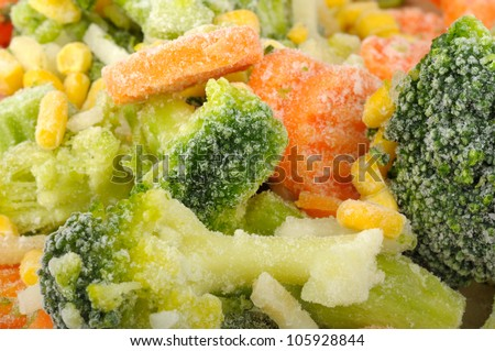 background of frozen vegetables - stock photo