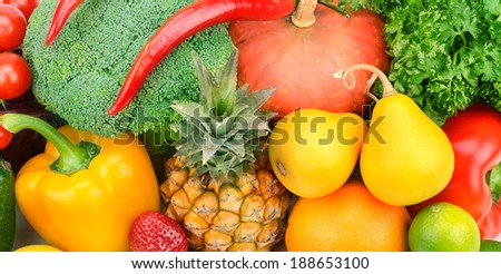 background of fruits and vegetables - stock photo